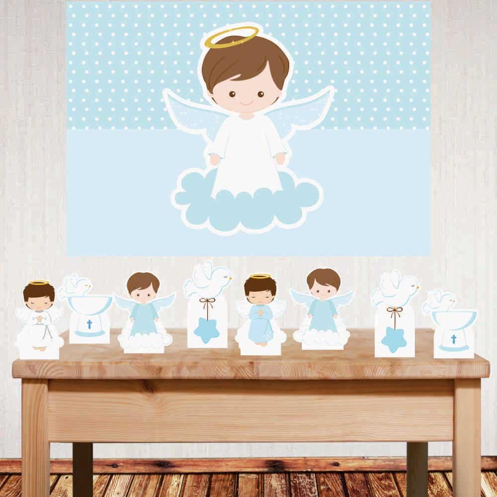 Kit decoração Batizado Menino com painel e displays de mesa