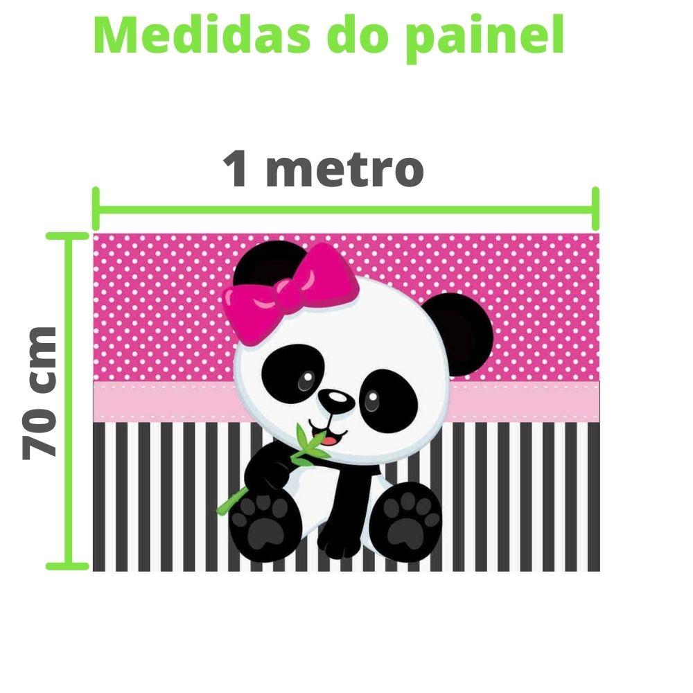 Kit festa Panda Rosa com displays de mesa e painel decorativo
