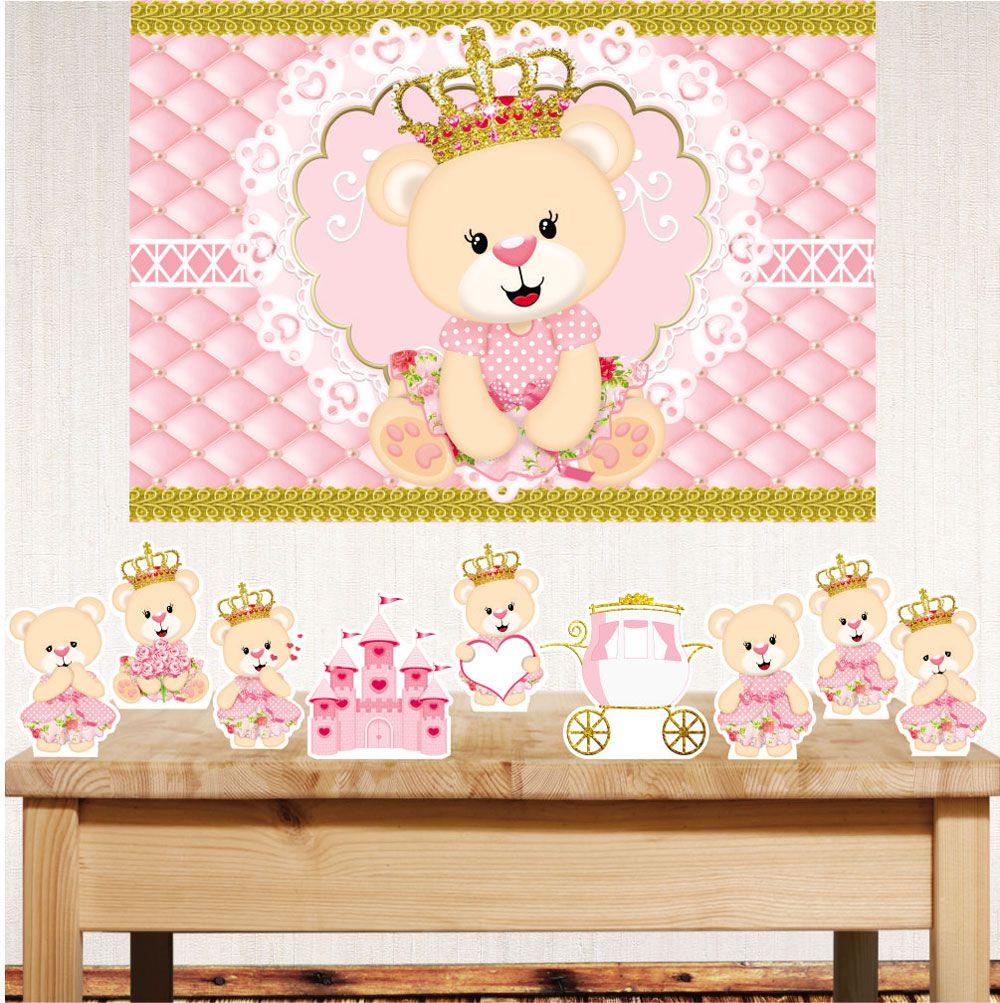 Kit festa Ursa princesa com displays de mesa e painel poli banner
