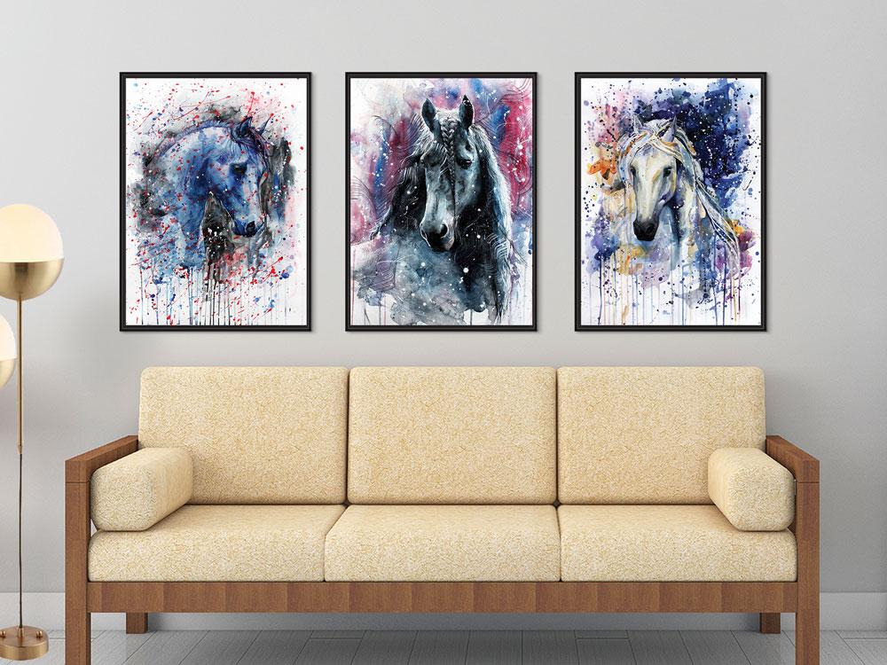 Kit Quadros Decoração com moldura Sala Hall Haras Cavalos Animais