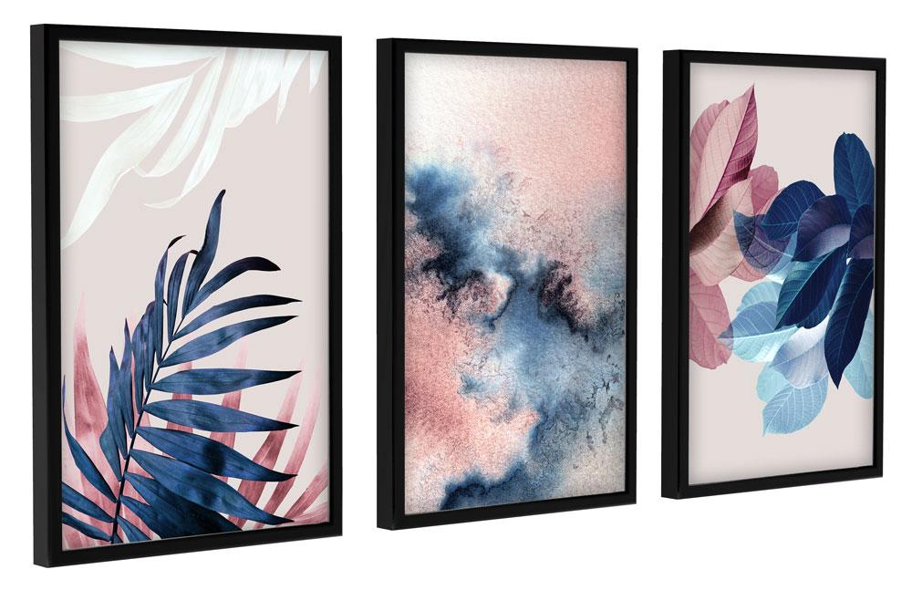 Kit Quadros Decorativos Folhagens Azul Rosa E Branco Sala Luxo