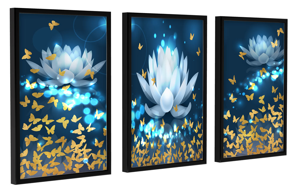 Kit Quadros decorativos para sala quarto Com Moldura Borboletas E Flor De Lótus