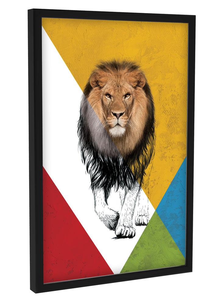 Quadro Decoração Quarto Sala Geométrico Formas Animal Leão