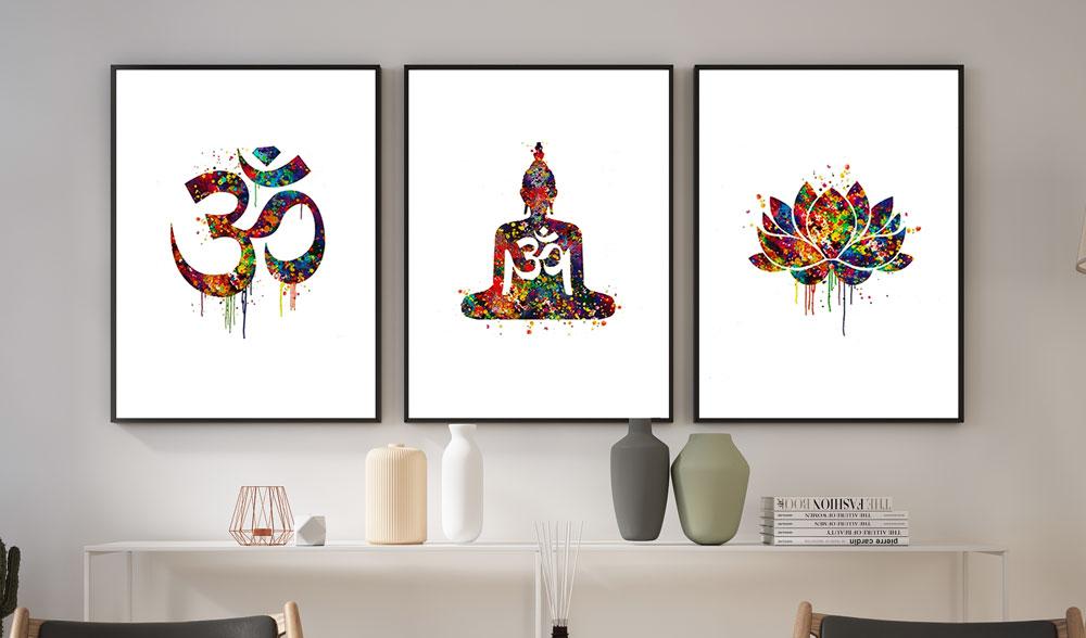 Quadros Decoração com moldura kit Místico Flor De Lótus , Símbolos e Buda