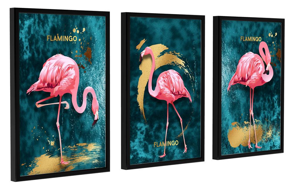 Quadros Decoração com moldura Trio Quarto Sala Varanda Flamingos
