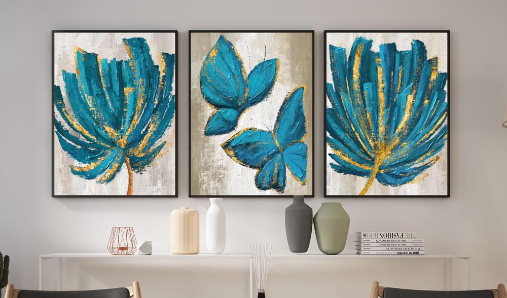 Quadros decoração De Parede Sala Quarto Trio Flores E Borboletas Azuis