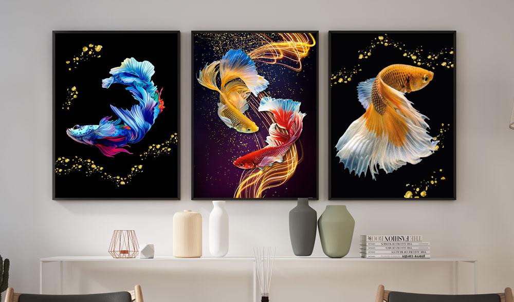 Quadros Decorativos com moldura Quarto Sala Peixes Coloridos Carpas
