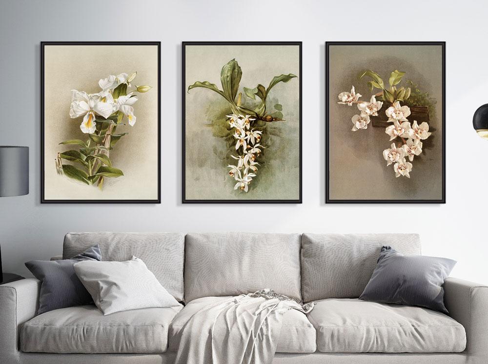 Quadros Decorativos Floral Sala Quarto Orquídeas Com Moldura