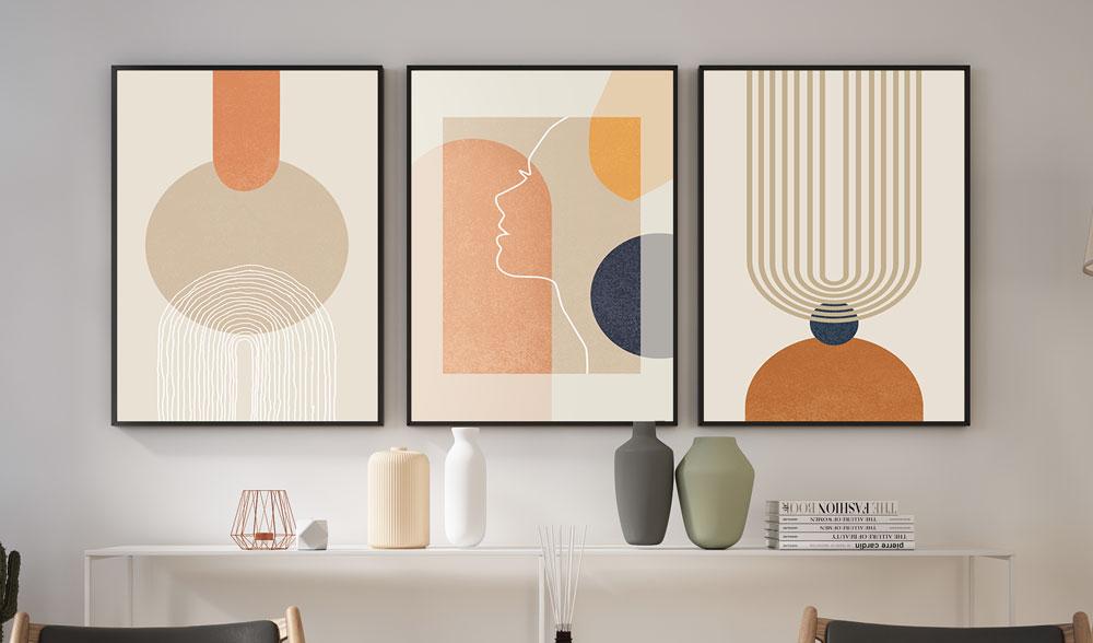 Quadros Decorativos Formas Geométricas Minimalista Rosto