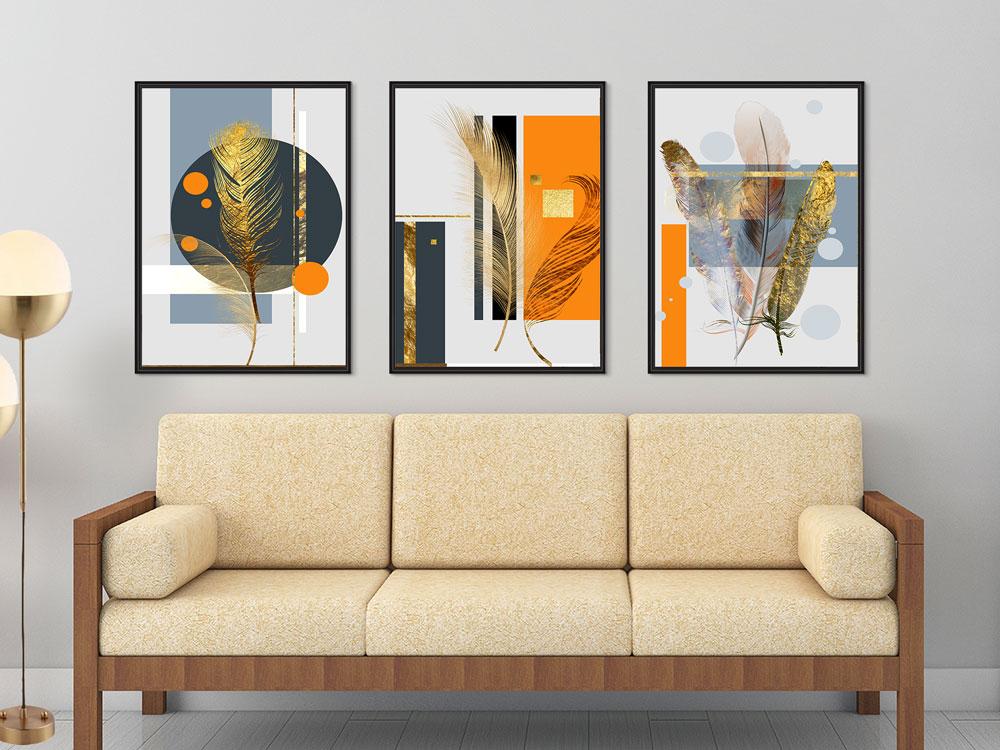 Quadros Decorativos Geométrico Abstrato Laranja Cinza com moldura