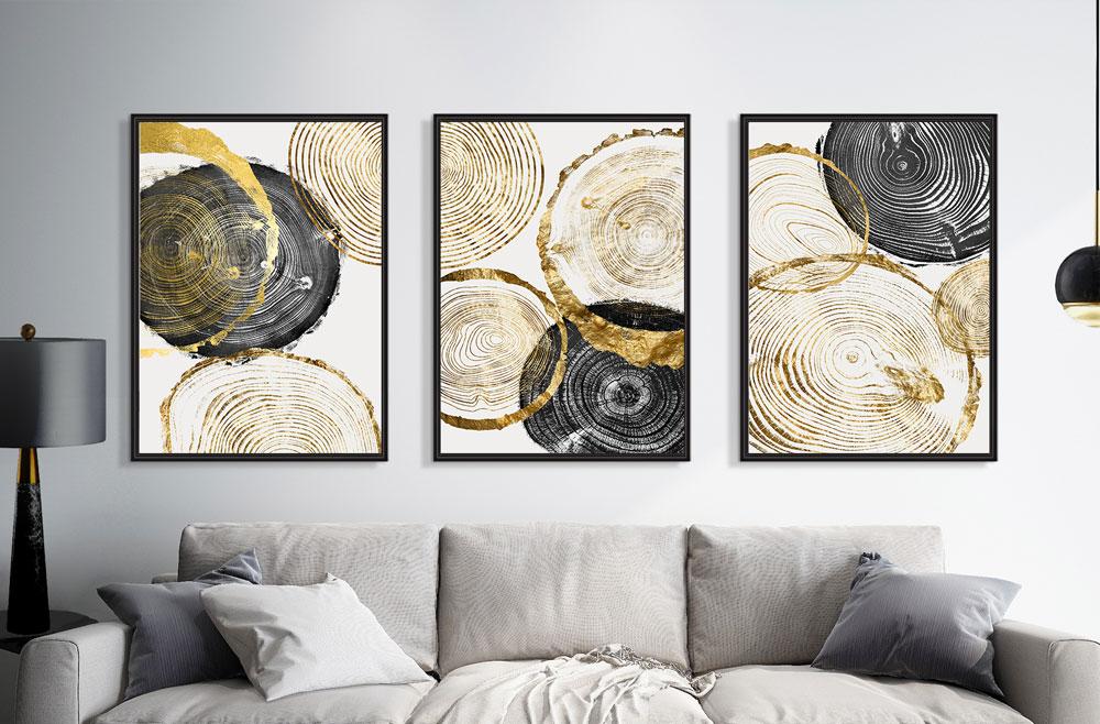 Quadros Decorativos Mármore Cinza Branco Dourado Sala Abstrato