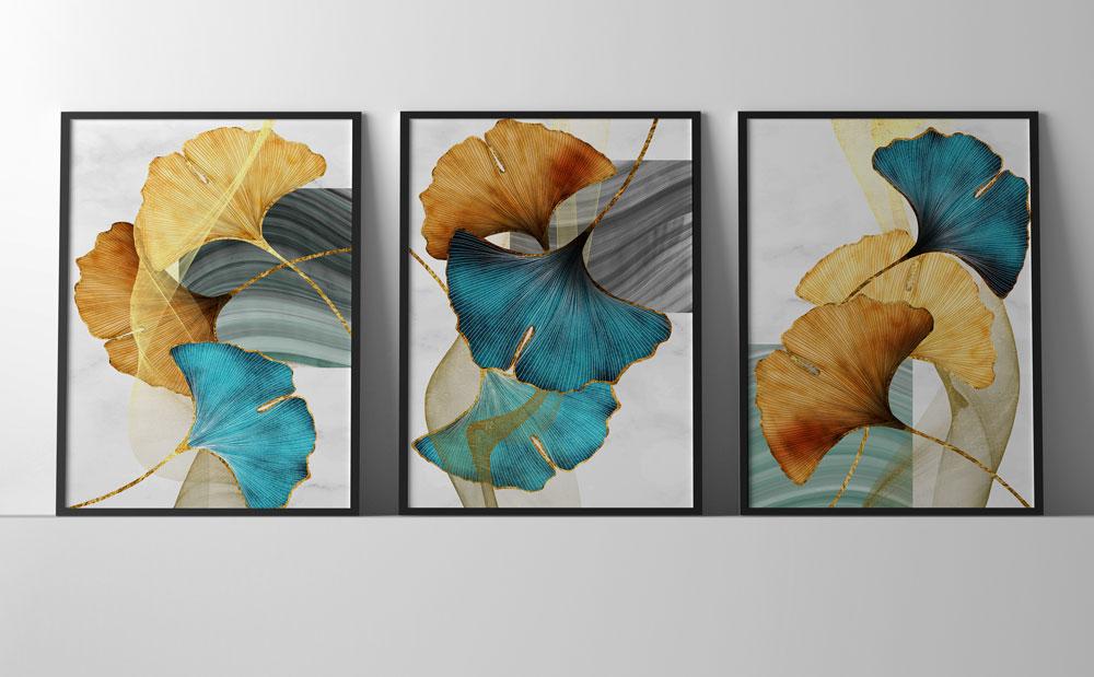 Quadros Decorativos Moldura Folhas Folhagens Coloridas Sala