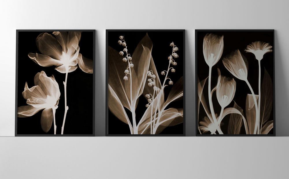 Trio Quadro Decoração Com Moldura Sala Quarto Folhagens Luxo