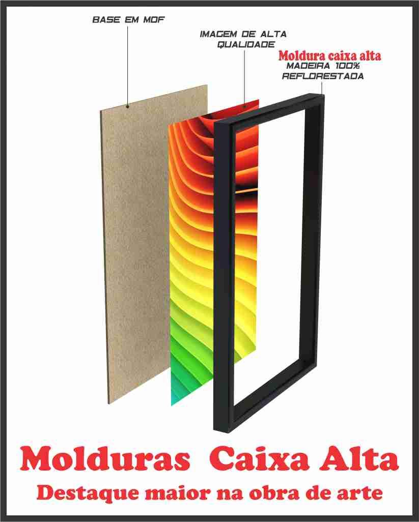 Quadros Decorativos Quarto Sala Varanda com Moldura Flor De Girassol