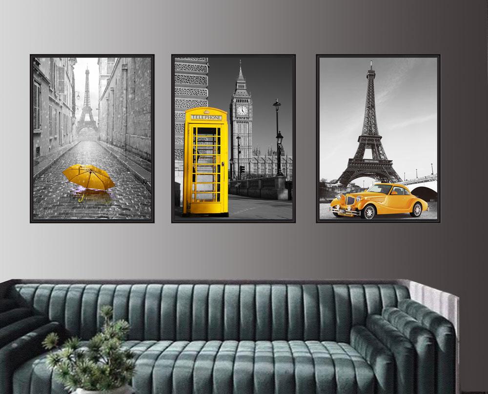 Quadros Paisagens Com Detalhes Amarelo Paris Londres Big Ben