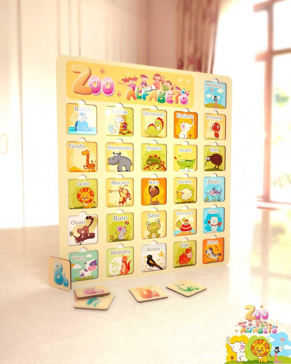 Quebra Cabeça Infantil Zoo Alfabeto Em Mdf Adesivado