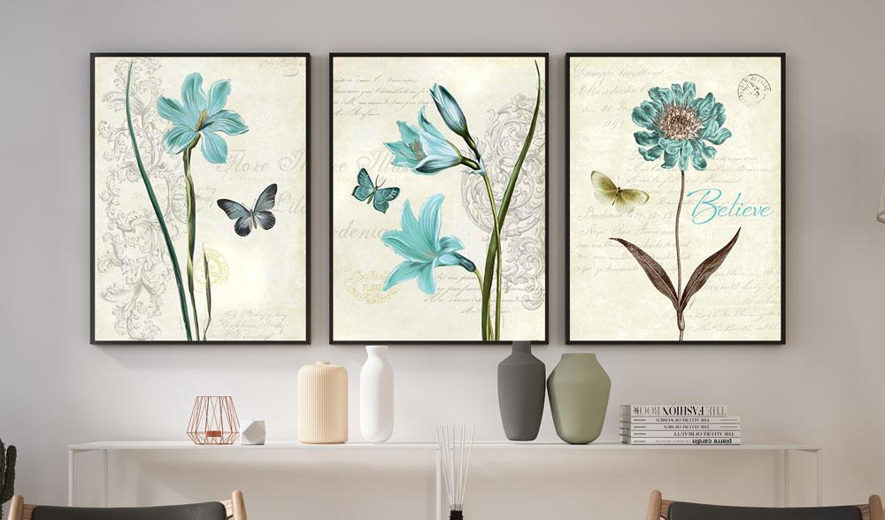 Trio de quadros decoração Sala Quarto Flores Azuis E Borboletas