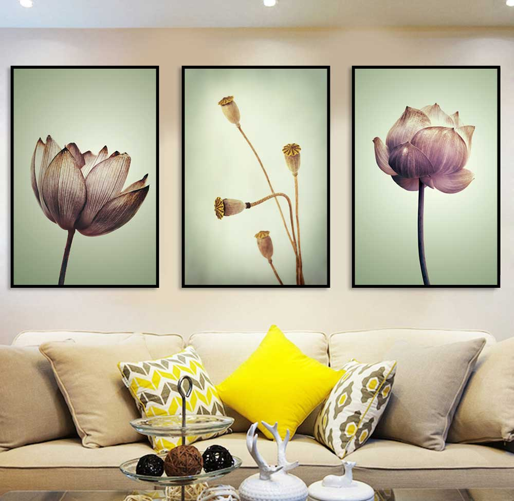 Trio Quadros Flor De Lótus Kit Sala Quarto Decoração Floral