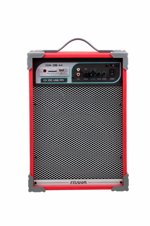 Caixa Frahm CA 100 USB FM Multiuso Vermelha 50W RMS