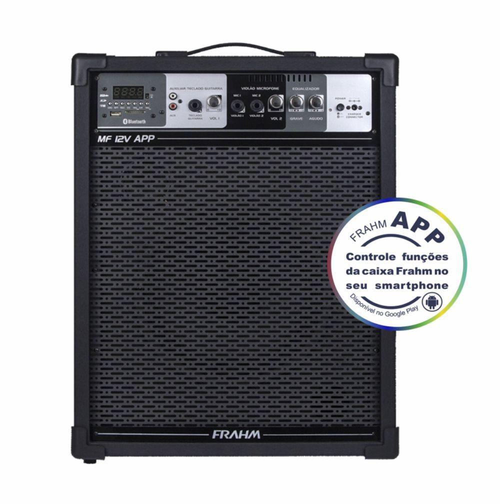 Caixa Frahm MF 12V APP Multiuso 100W RMS FM SD USB Bluetooth Bateria