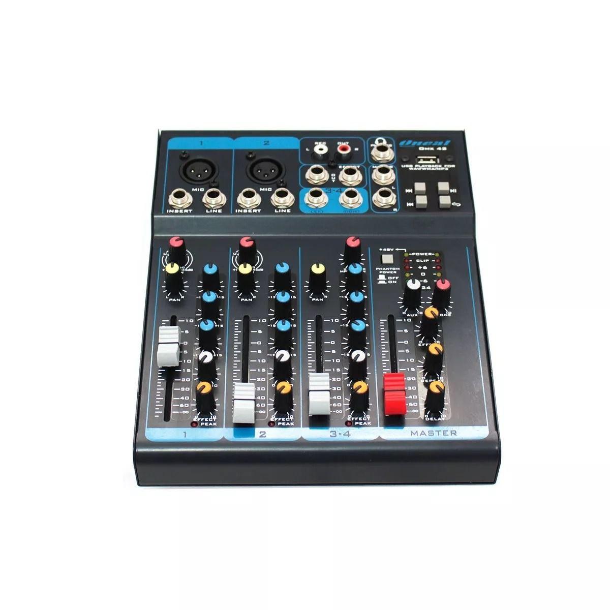 Mesa de Som Analógica 4 Canais Oneal OMX 42 USB