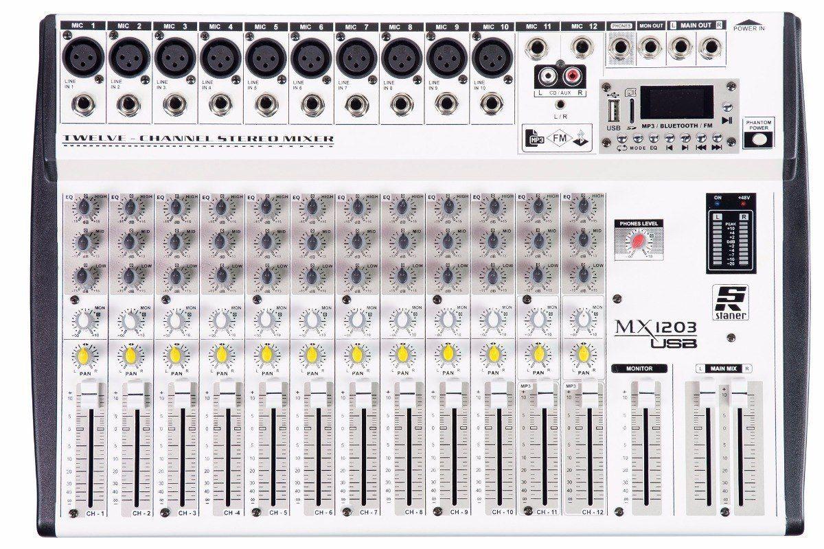 Mesa De Som 12 Canais Staner Usb/ Fm E Bluetooth Mx-1203
