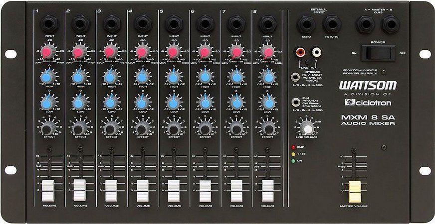 Mesa de Som 8 canais Mixer  Ciclotron Wattsom MXM 8 SA