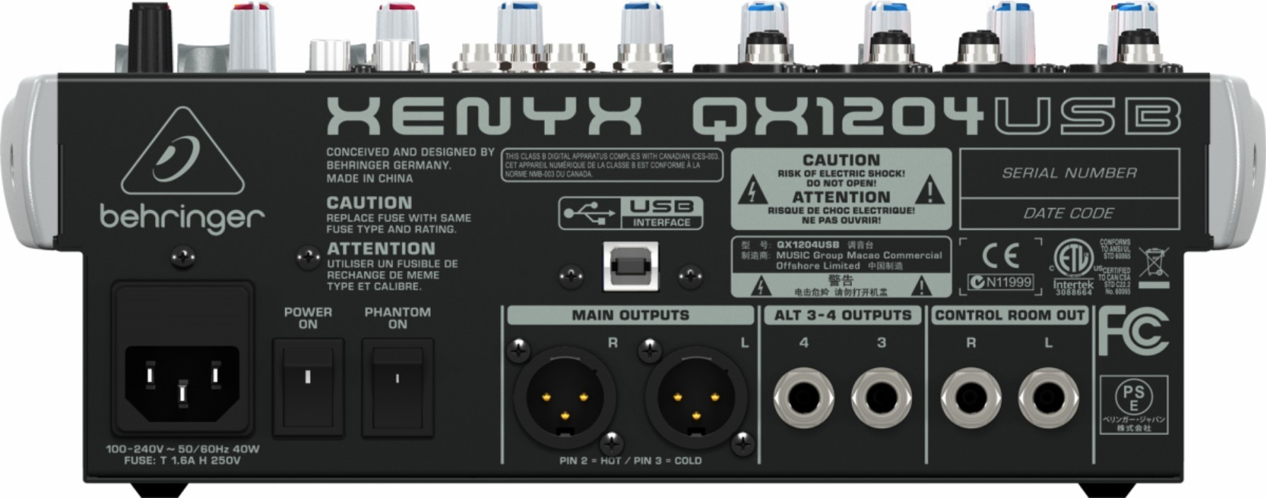 Mesa de som Behringer  XENYX QX1204USB