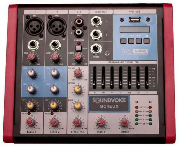 Mesa de Som Soundvoice MC4EUX 4 Canais Com Efeito USB Equalizador Gráfico Phanton Power XLR P10