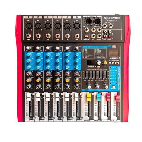MESA DE SOM SOUNDVOICE MS602 - 6 CANAIS - EQUALIZADOR  7 BANDAS  - USB - EFEITO DIGITAL