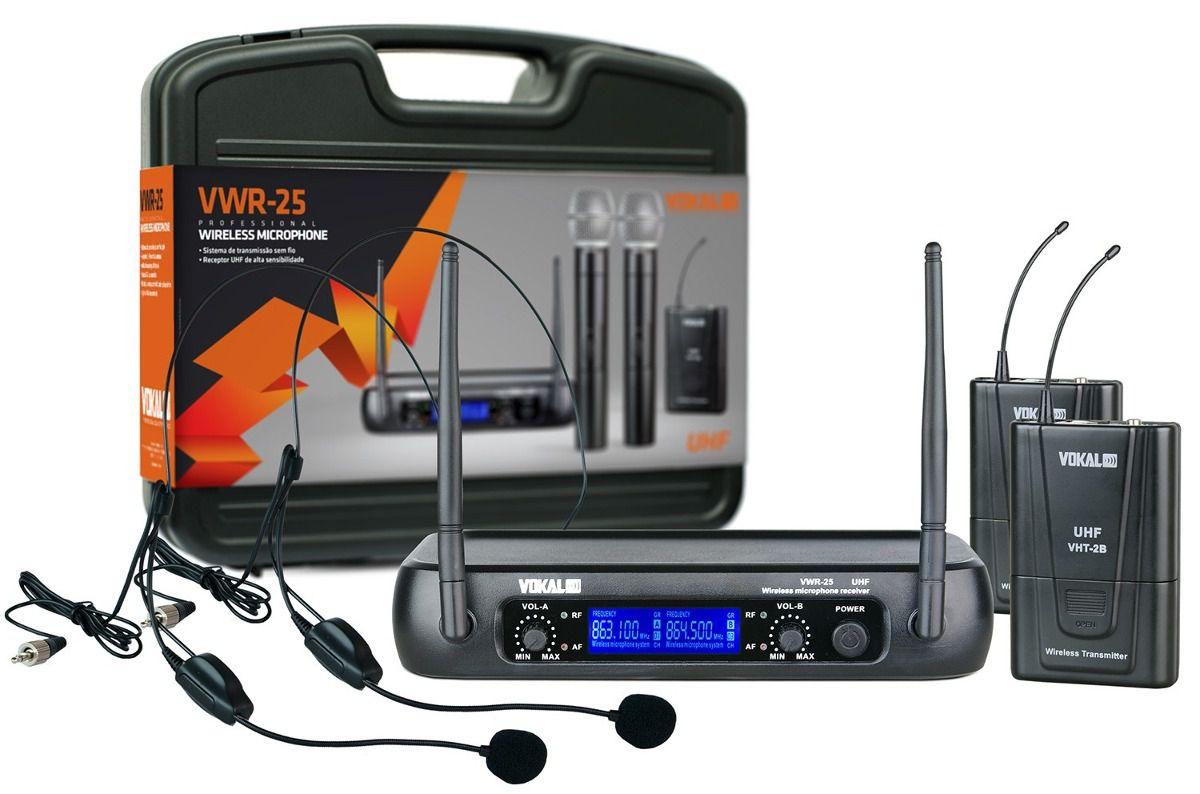 Microfone Sem Fio Vokal VWR-25 Duplo Cabeça Headset UHF
