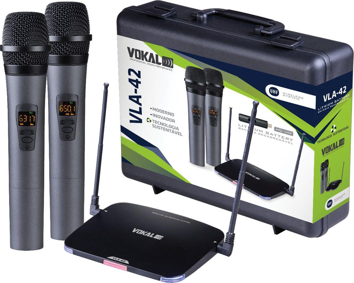 Microfone Sem Fio Vokal VLA-42 Duplo de Mão Bateria Lithium Recarregável UHF