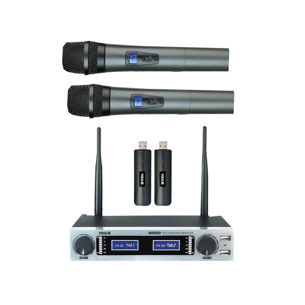 Microfone Sem Fio Vokal VLR-502 Duplo de Mão Bateria Recarregável UHF