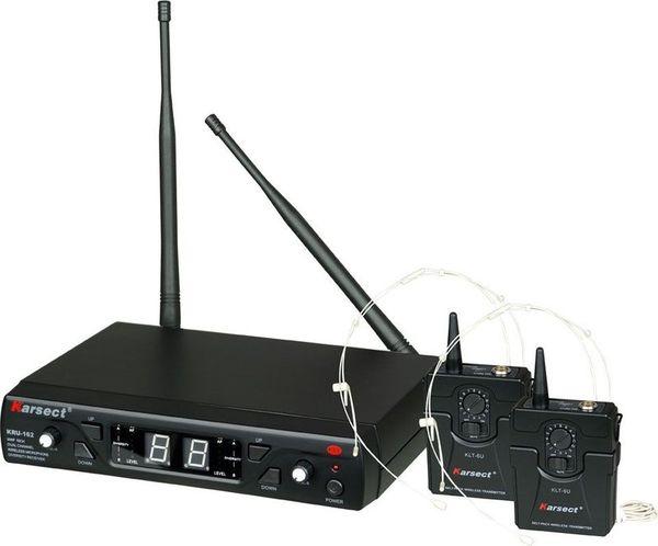 Microfone Sem Fio Karsect KRU 162 Duplo de Cabeça Fino UHF