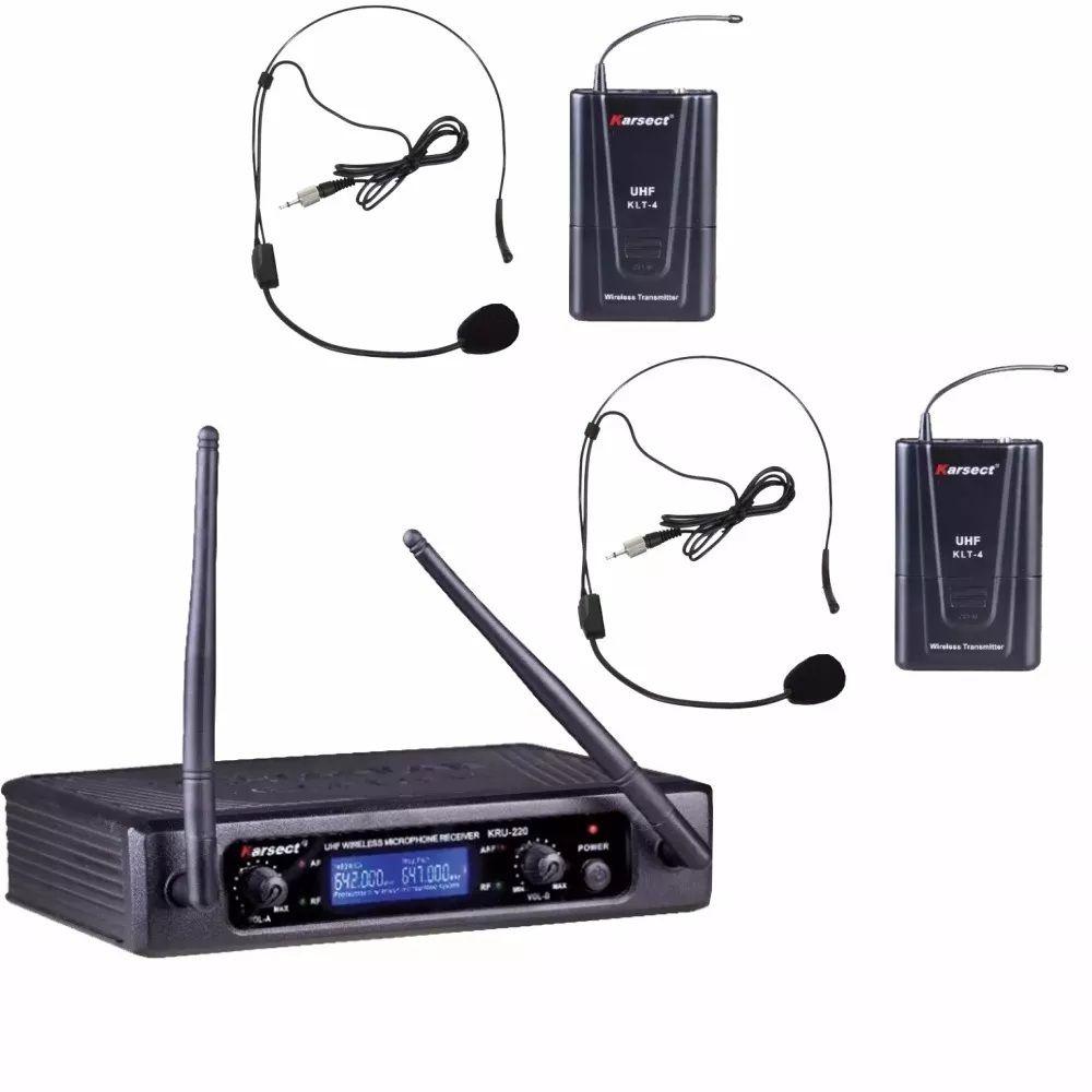Microfone Sem Fio Karsect KRU 220 Duplo de Cabeça UHF