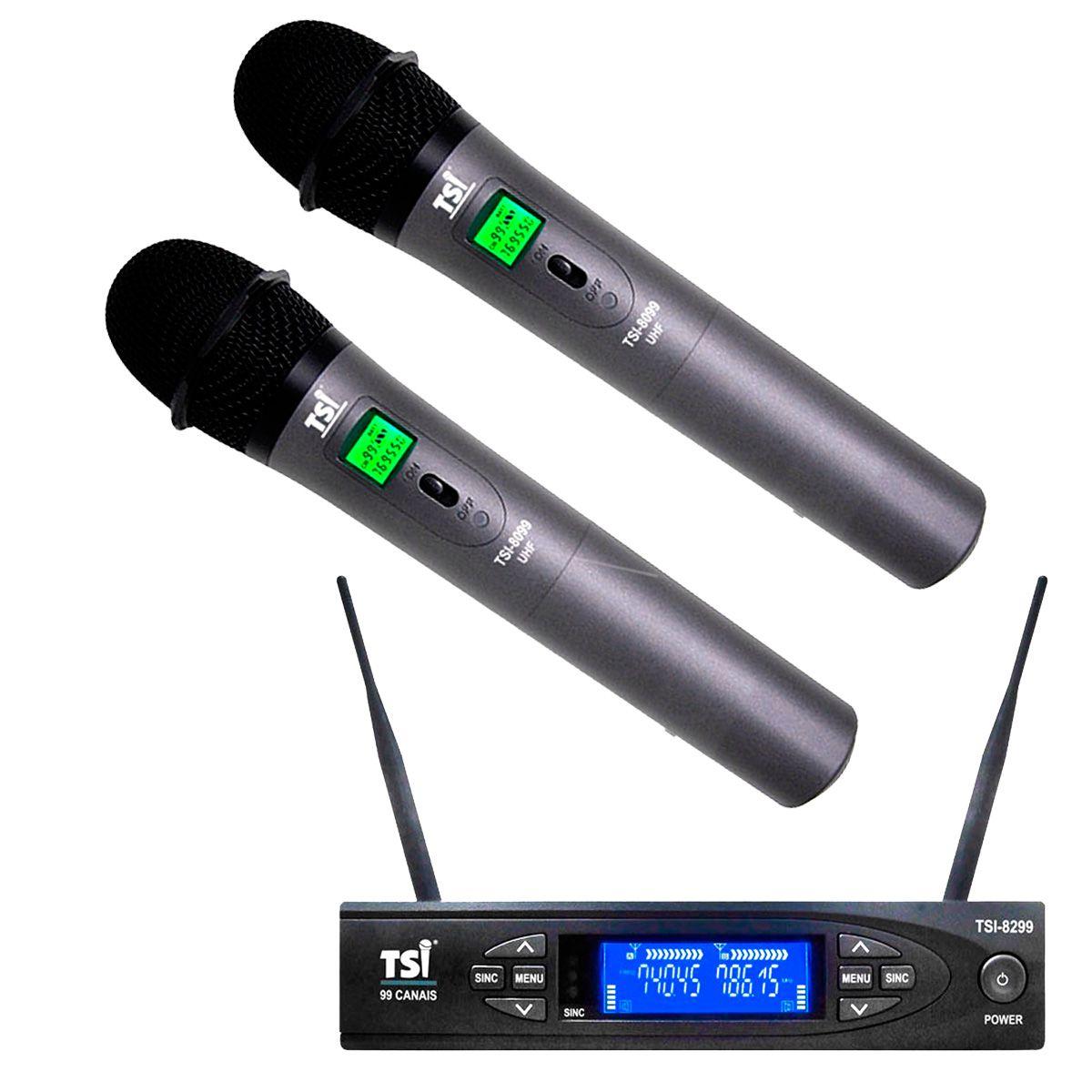 Microfone Sem Fio TSI 8299 UHF Sem Fio Duplo de Mão 198 Canais