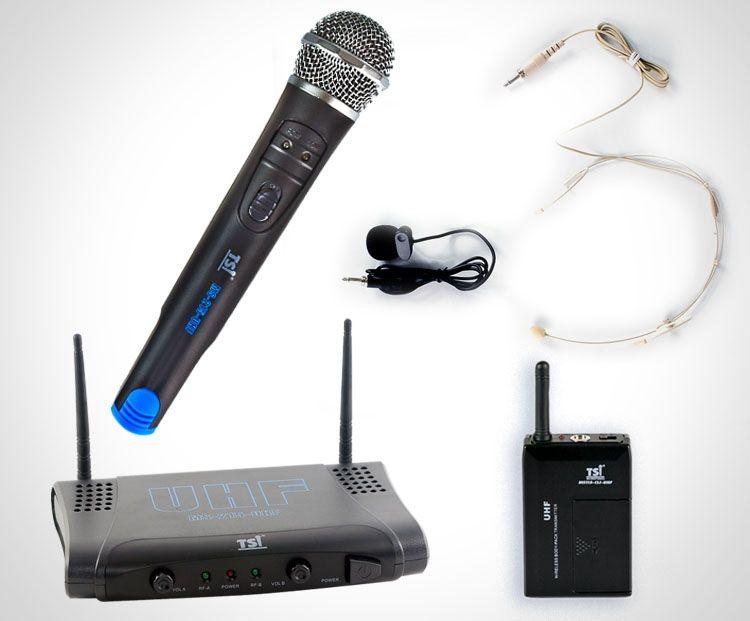 Microfone Sem Fio TSI MS 215 CLI UHF Mão+Cabeça+Lapela