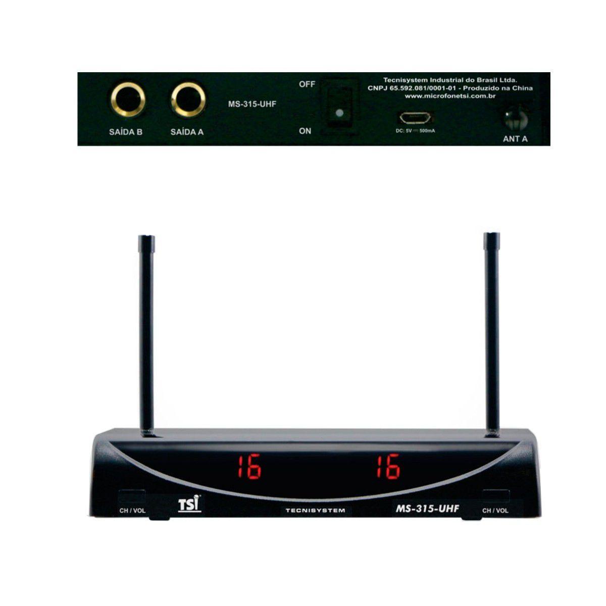Microfone Sem Fio TSI MS 315 UHF Duplo De Mão com 32 canais