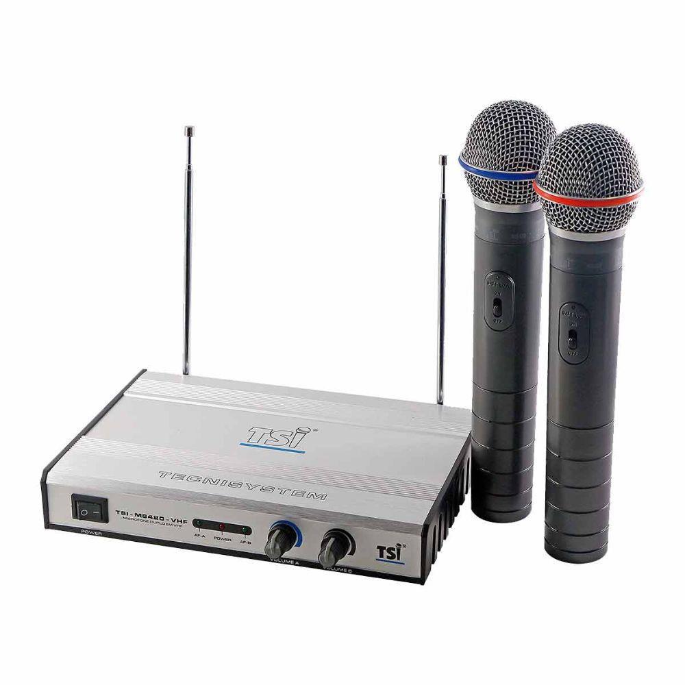 Microfone Sem Fio TSI MS 420 Duplo De Mão VHF