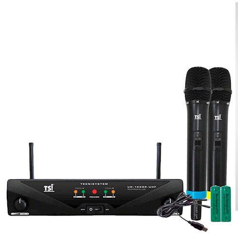 Microfone Sem Fio TSI UD 1500R UHF Duplo de Mão Bateria Recarregável