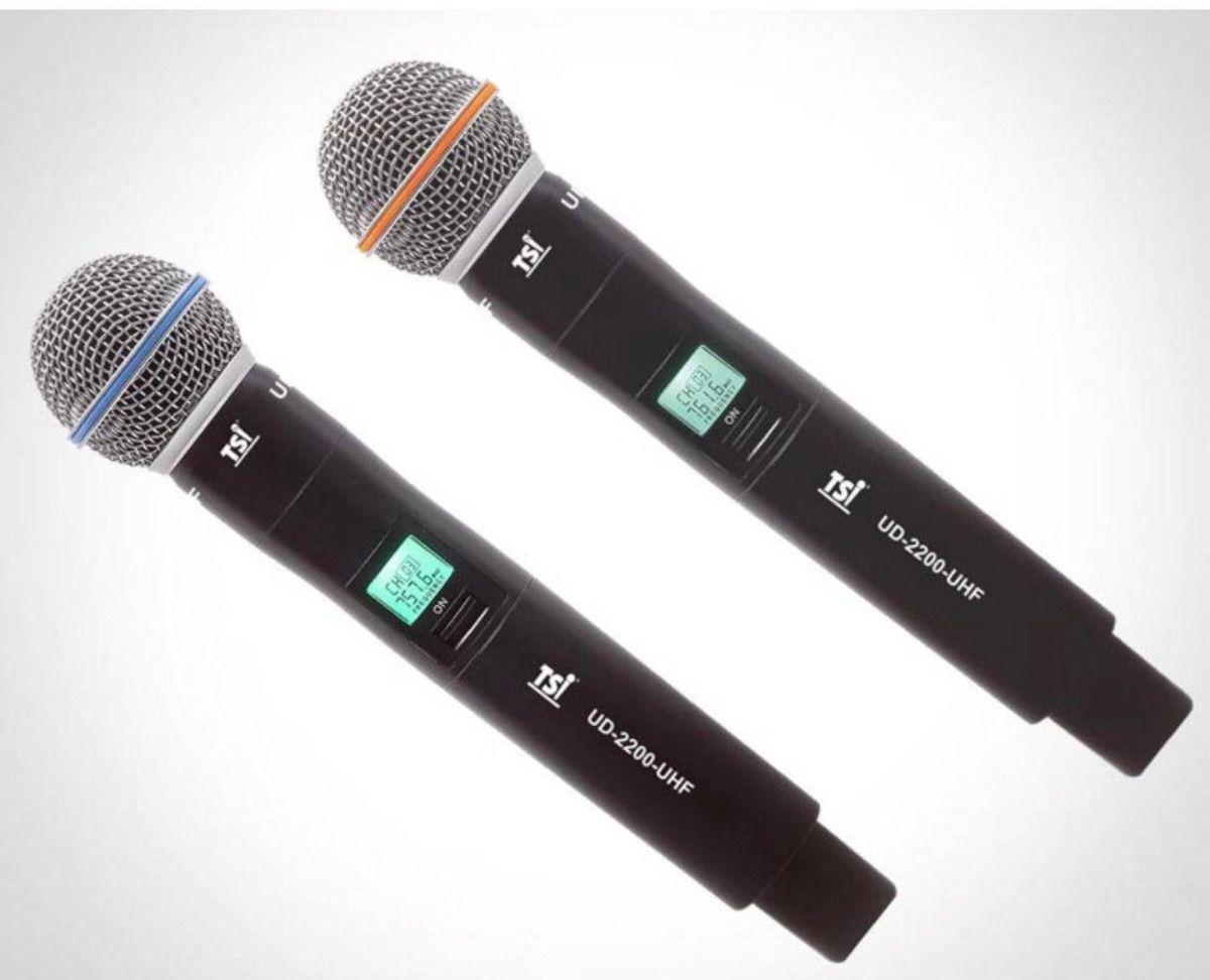 Microfone Sem Fio TSI UD 2200 UHF Duplo De Mão UHF