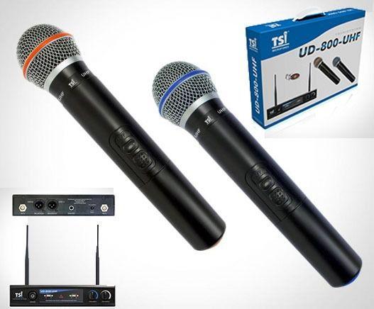 Microfone Sem Fio TSI UD 800 UHF Sem Fio Duplo De Mão UHF