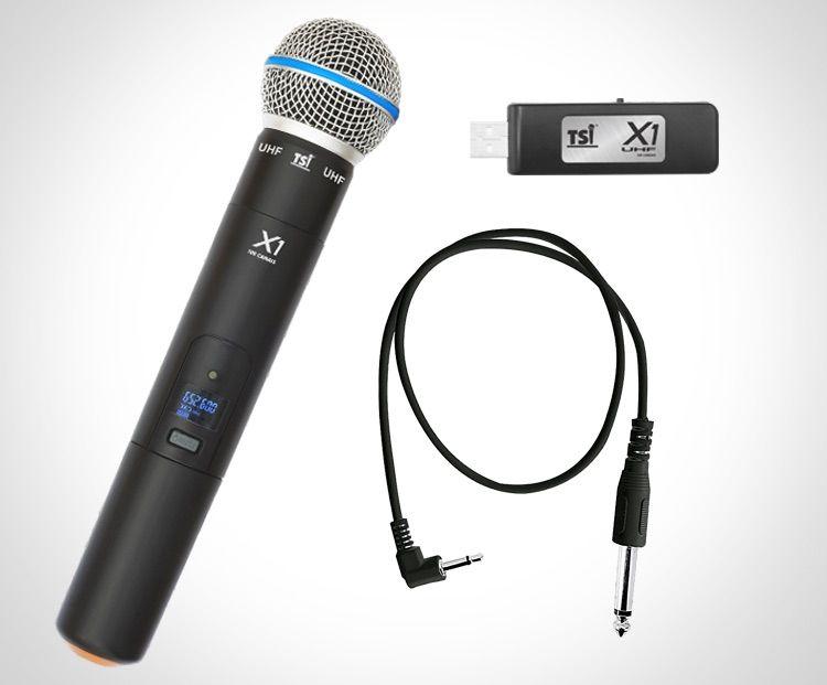 Microfone Sem Fio TSI X1 De Mão UHF 50 Canais