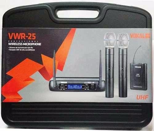 Microfone Sem Fio Vokal VWR-25 Lapela Duplo UHF