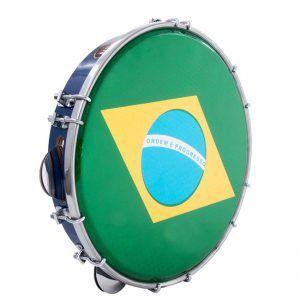 Pandeiro Luen 10 Brasil Aro Abs Azul Pele Holográfica Bandeira do Brasil