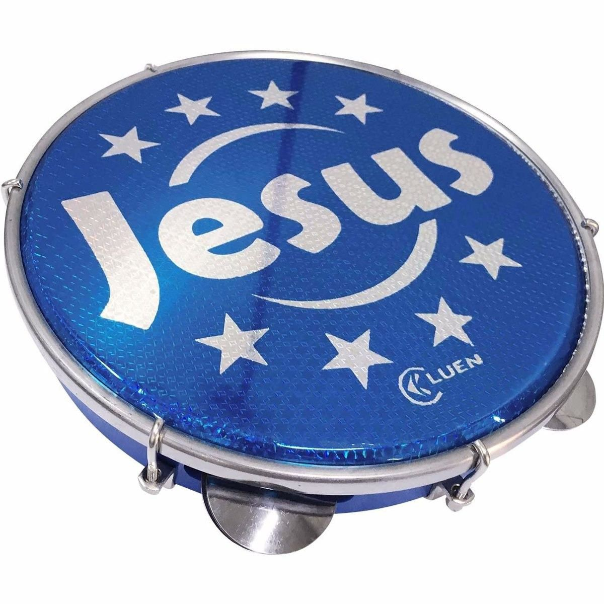 Pandeiro Luen 10 Jesus Aro Abs Azul Pele Holográfica Azul