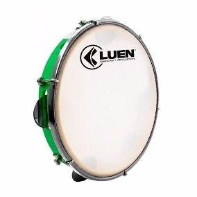 Pandeiro Luen 10 Pele Leitosa Aro Abs Verde Luen HandCraft Percussion