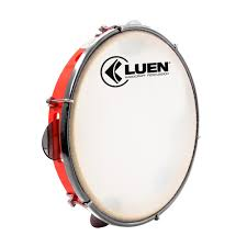 Pandeiro Luen handcraft percussion 10 Pele Leitosa Aro Abs Vermelho