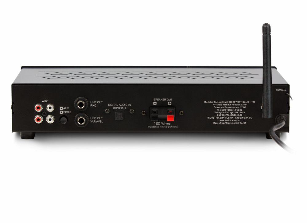 Receiver Frahm Slim 2000 Optical APP 120W RMS Bluetooth FM USB SD