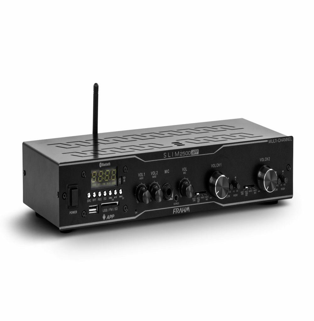 Receiver Frahm Slim 2500 APP Multi-Channel 160W RMS Bluetooth FM USB SD